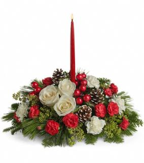 Single Candle Christmas Centerpiece