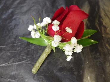 Single Red Rose Boutonniere